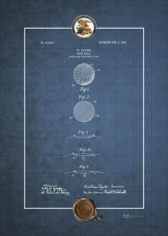 Golf ball by william taylor vintage patent blueprint digital art golf ball patent blueprint digital art golf ball by william taylor vintage patent blueprint malvernweather Image collections