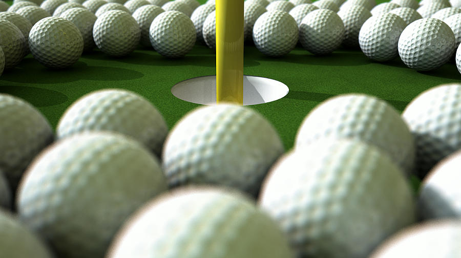 Ball Digital Art - Golf Ball Hole Assault by Allan Swart