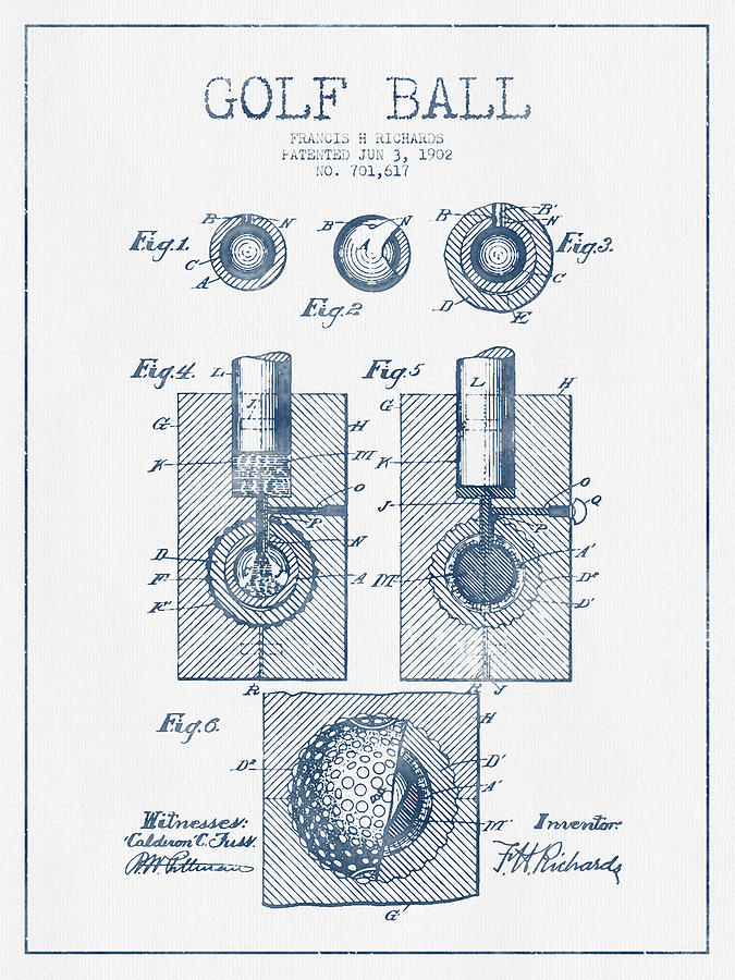 Golf Ball Patent Drawing From 1902 - Blue Ink Digital Art