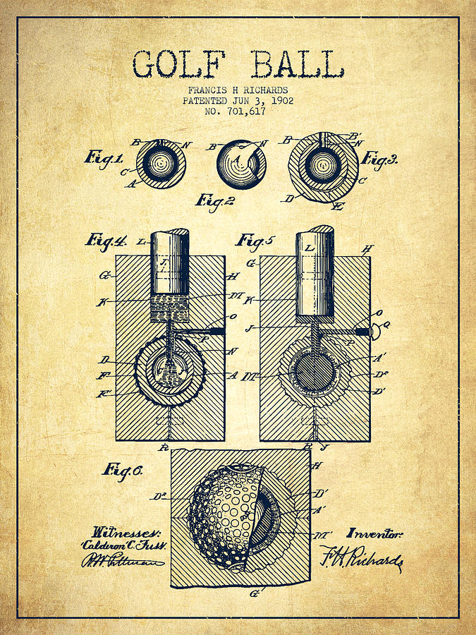 Golf Ball Digital Art - Golf Ball Patent Drawing From 1902 - Vintage by Aged Pixel