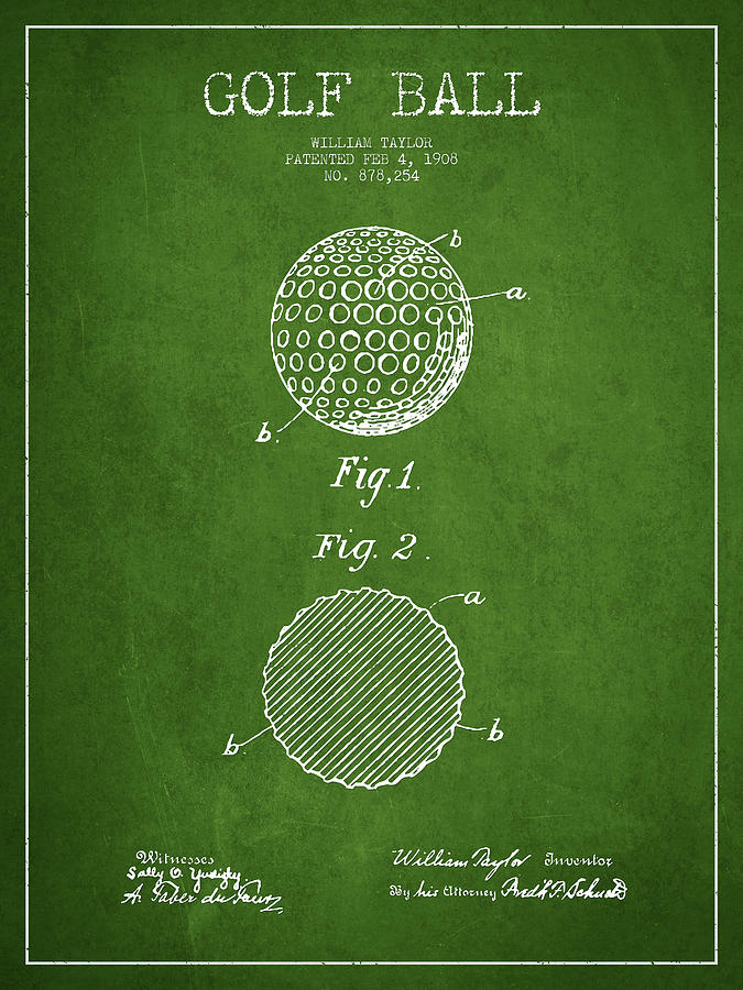 Golf Ball Digital Art - Golf Ball Patent Drawing From 1908 - Green by Aged Pixel