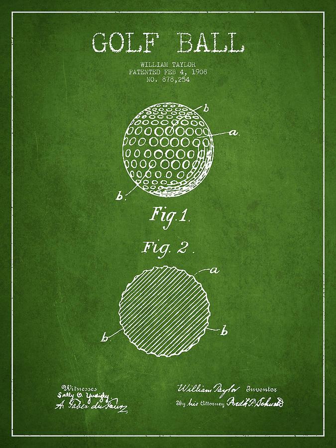Golf Ball Patent Drawing From 1908 - Green Digital Art