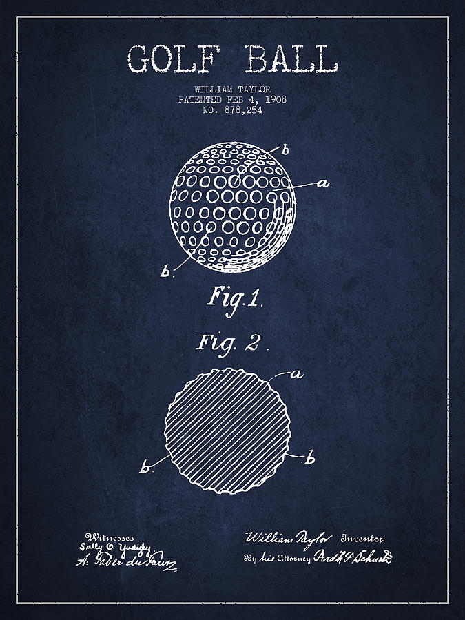 Golf Ball Digital Art - Golf Ball Patent Drawing From 1908 - Navy Blue by Aged Pixel