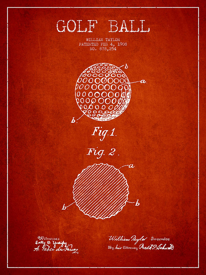 Golf Ball Patent Drawing From 1908 - Red Digital Art