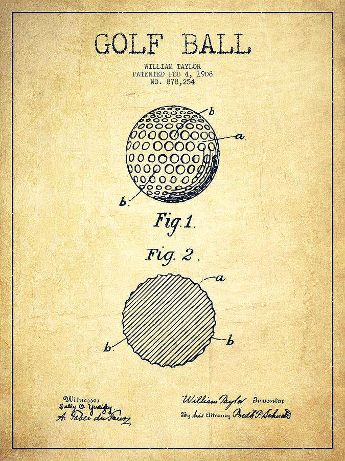 Golf Ball Patent Drawing From 1908 Vintage Digital Art