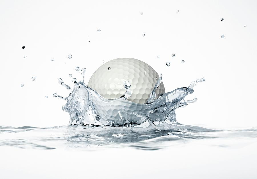 Artwork Photograph - Golf Ball Splashing Into Water by Leonello Calvetti