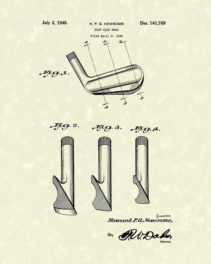Golf Club 1945 Patent Art by Prior Art Design