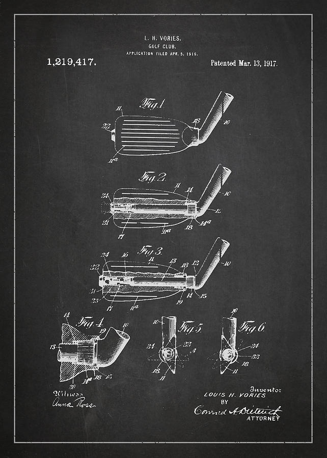 Golf Club Patent Drawing From 1917 Digital Art