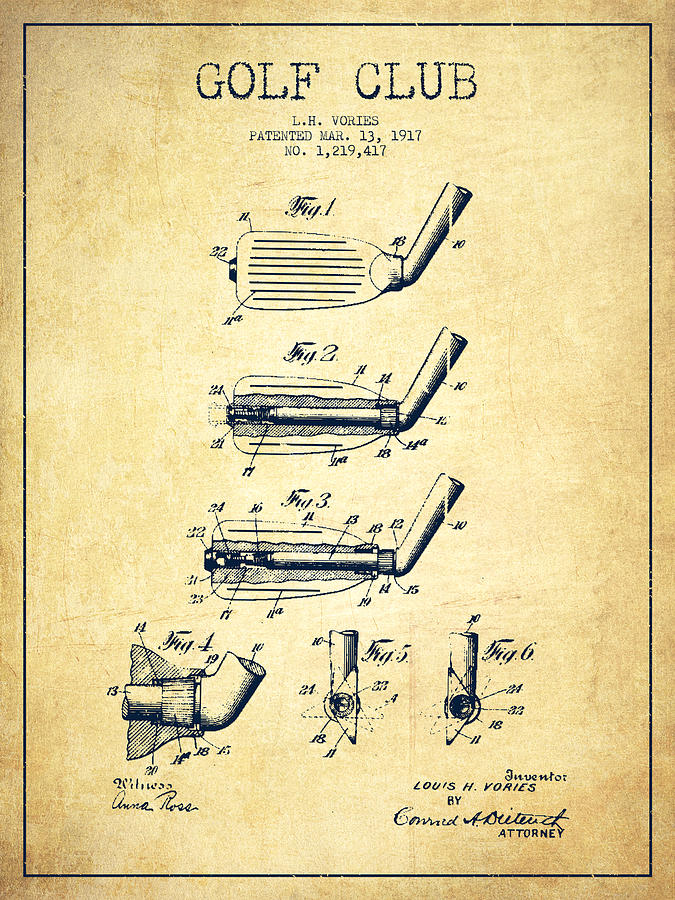 Golf Club Patent Drawing From 1917 - Vintage Digital Art