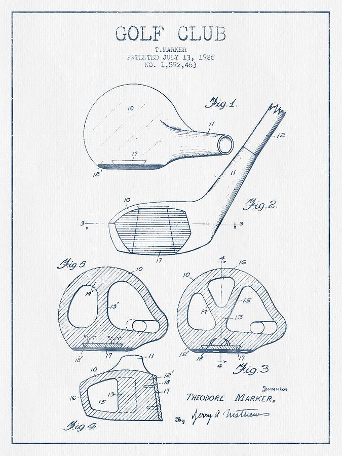 Golf Club Patent Drawing From 1926 - Blue Ink Digital Art