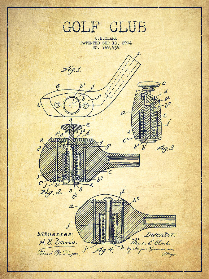 Golf Digital Art - Golf Clubs Patent Drawing From 1904 - Vintage by Aged Pixel