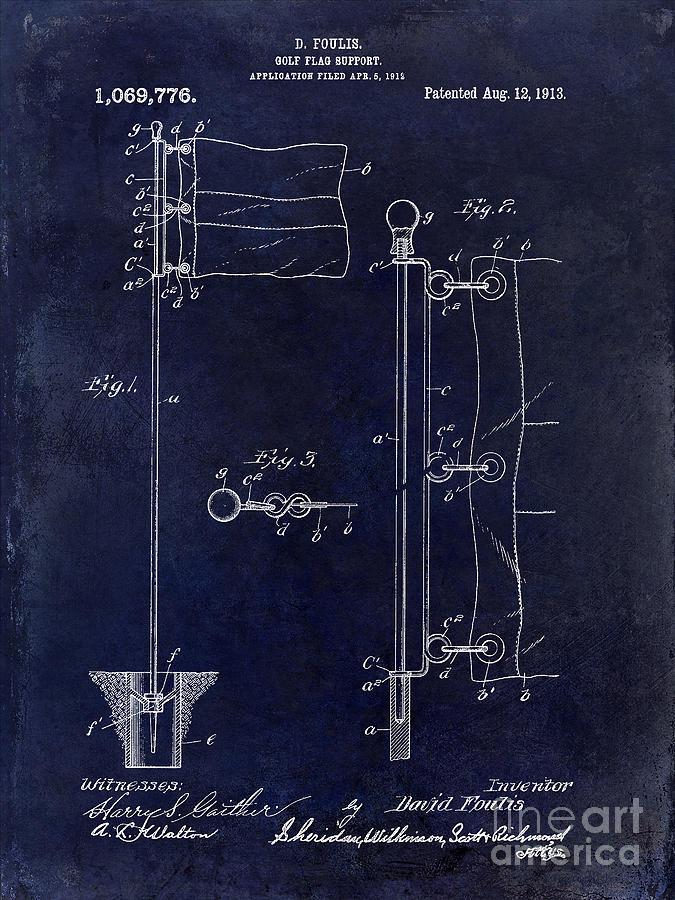 Golf Flag Photograph - 1913 Golf Flag Patent Blue 1913 by Jon Neidert
