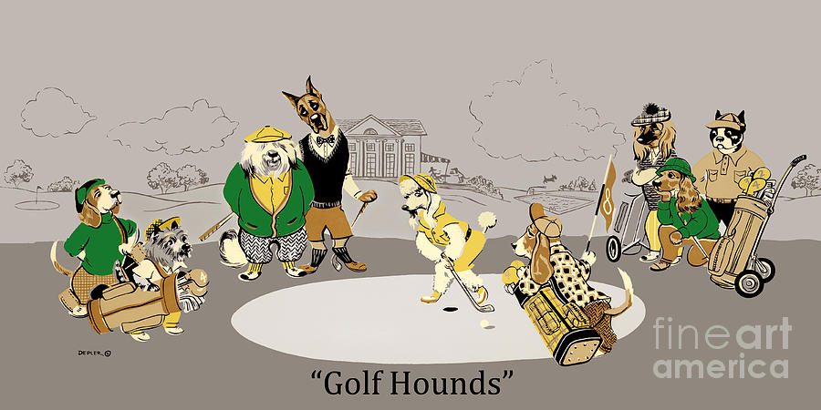 Dogs Mixed Media - Golf Hounds by Constance Depler