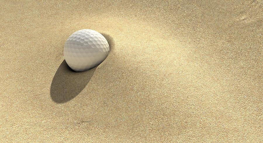 Ball Digital Art - Golf Sand Trap by Allan Swart