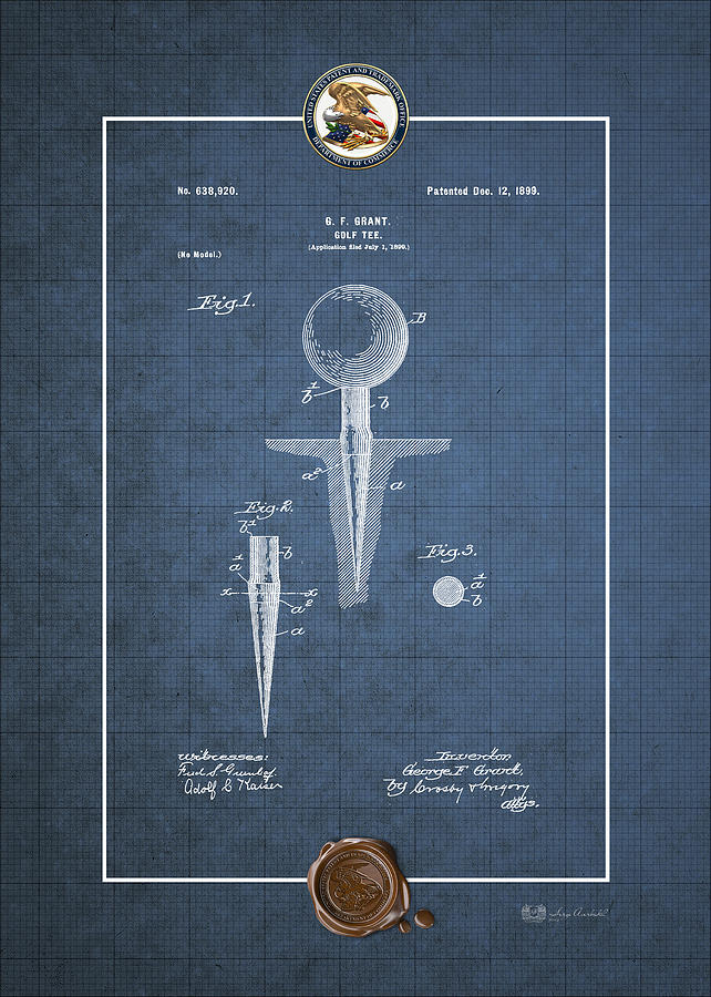 Golf tee by george f grant vintage patent blueprint digital art vintage americana digital art golf tee by george f grant vintage patent blueprint malvernweather