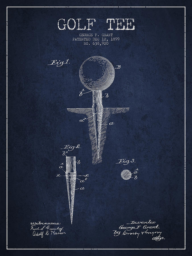 Golf Tee Patent Drawing From 1899 Digital Art