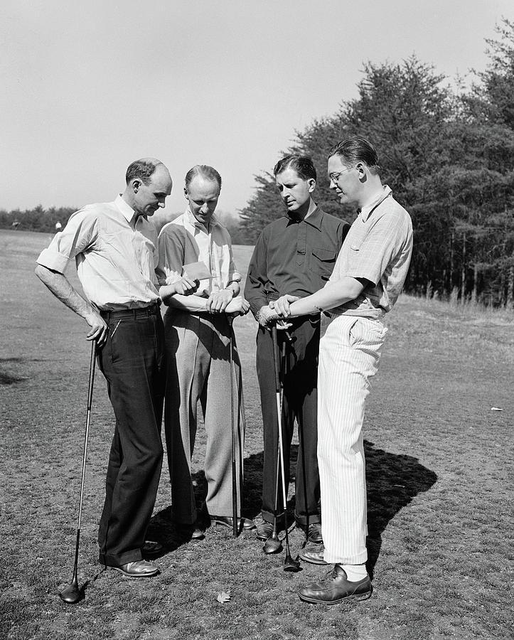 1938 Photograph - Golfers, 1938 by Granger