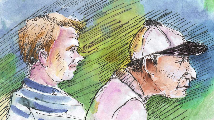 Portraits Painting - Golfers In Soufflenheim 01 by Miki De Goodaboom