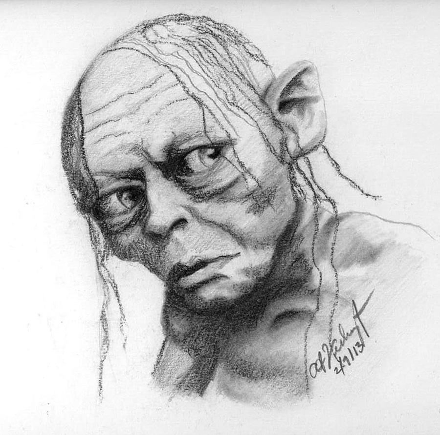 Gollum Drawing By Anthony Verburgt
