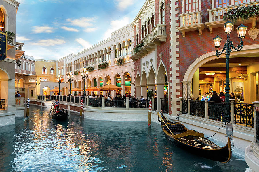 Gondola At The Venetian Hotel, Las Photograph by Sylvain Sonnet