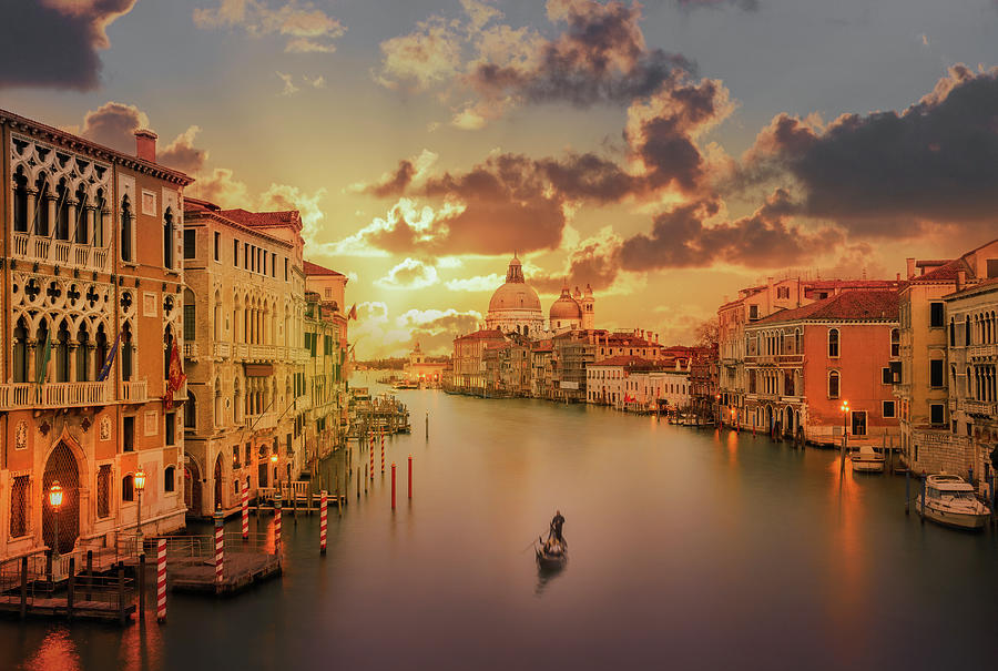 Gondola In The Grand Canal At Sunset Photograph by Buena Vista Images