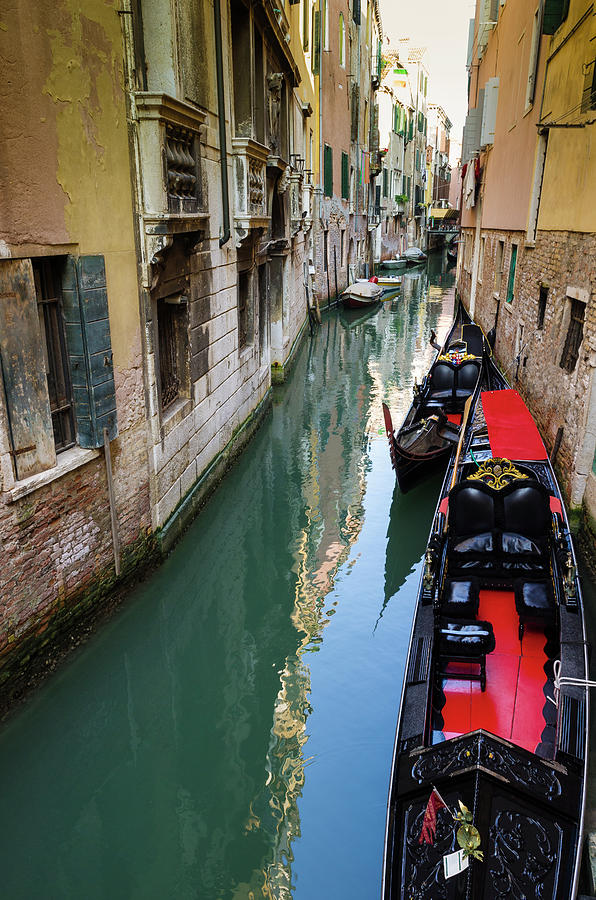 Boat Photograph - Gondolas And Canal, Venice, Veneto by Russ Bishop