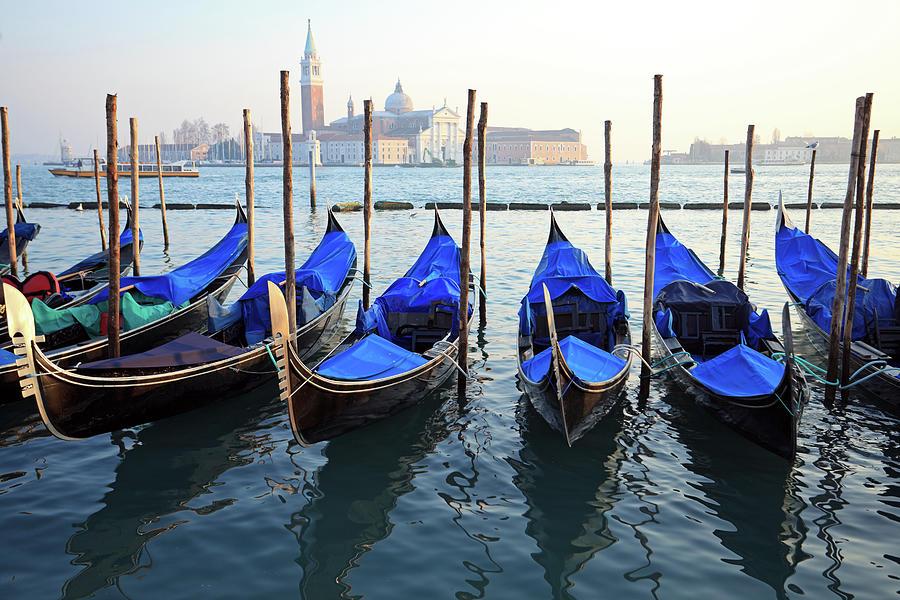 Gondolas At San Marco, Venice Photograph by Mura