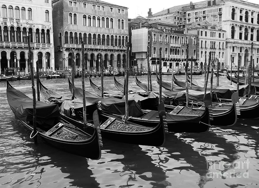 Grand Canal Photograph - Gondolas In Black by Mel Steinhauer
