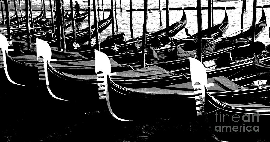 Black And White Photograph - Gondolas Lined Up by Jacqueline M Lewis