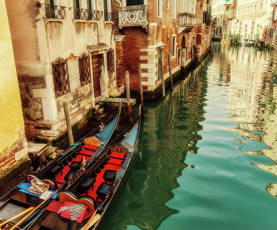 Gondolas Moored, Sunlit Buildings And Photograph by Lesleygooding