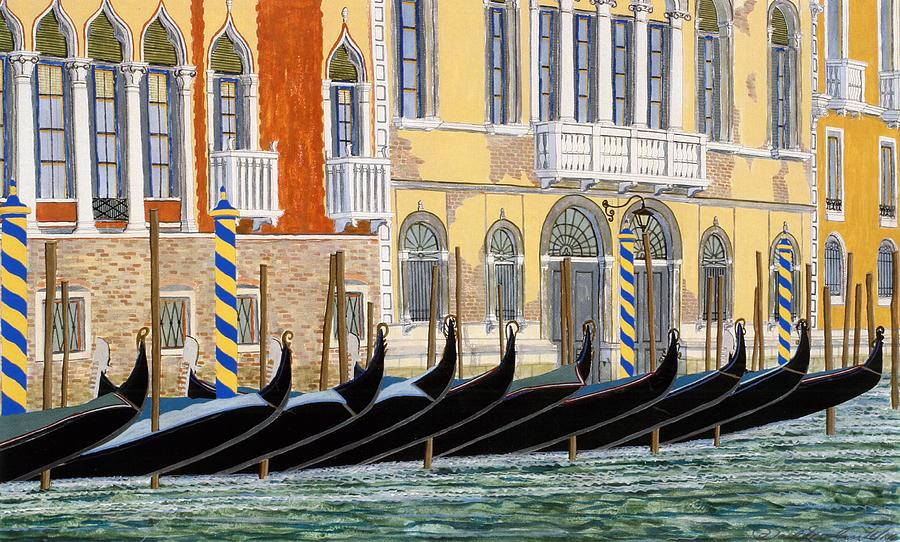 Landscape Painting - Gondolas On The Grand Canal  by David Hinchen