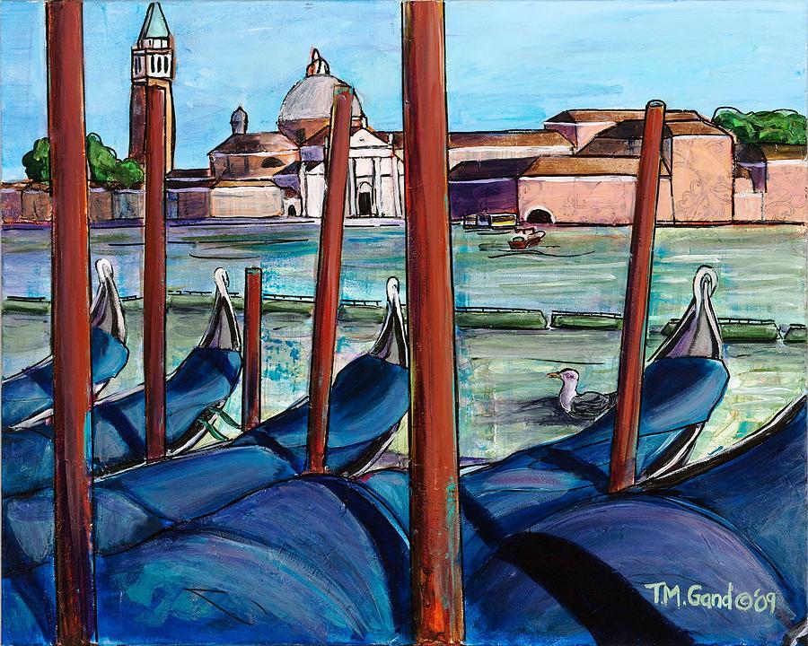 Contemporary Painting - Gondolas by TM Gand