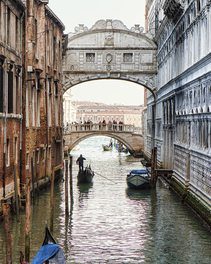 Travel Photograph - Gondolas Under Bridge Of Sighs by Susan Schmitz