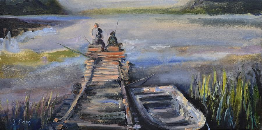 Relaxation Painting - Gone Fishin by Donna Tuten