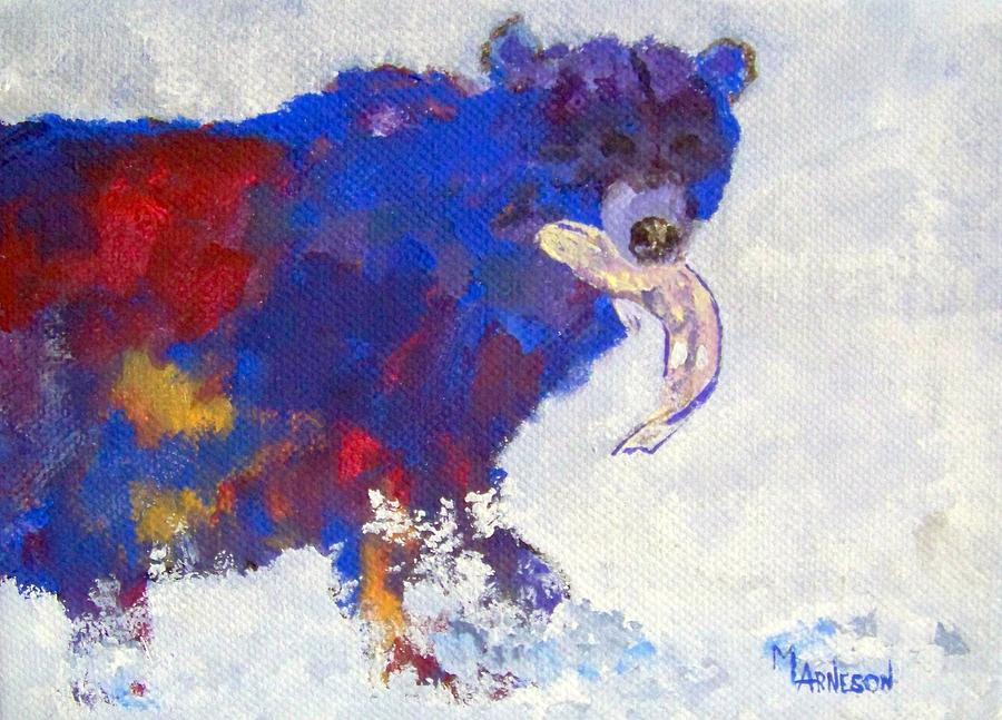 Bear Painting - Gone Fishing by Mary Arneson