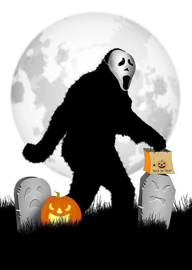 Sasquatch Digital Art - Gone Halloween Squatchin by Gravityx9 Designs