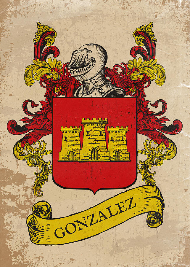 Gonzalez Coat Of Arms Spain Drawing By Daniel Clark