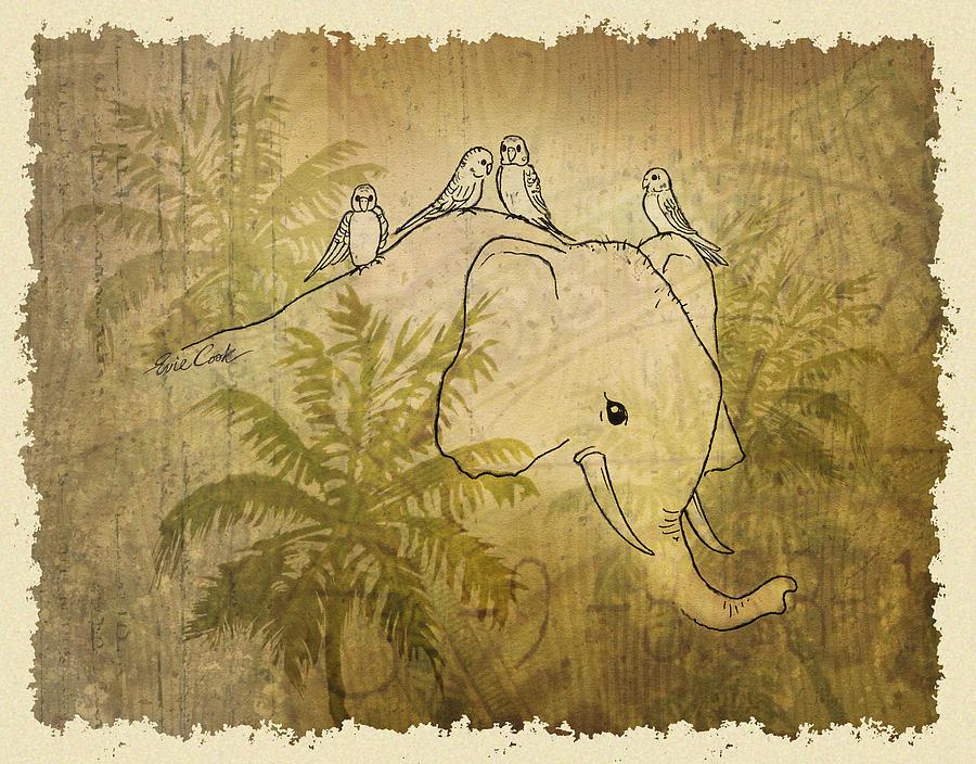 Elephant Digital Art - Good Friends by Evie Cook
