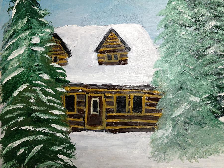 Log House Painting - Good Friends Home by Paula Brown