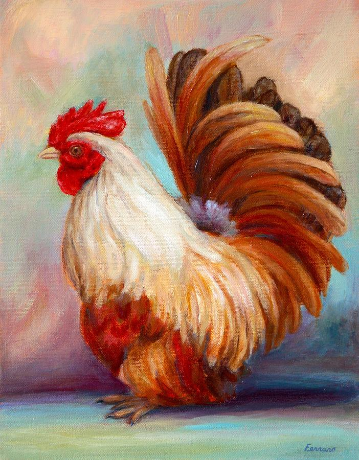 Rooster Painting   Good Luck Rooster By Janet Ferraro