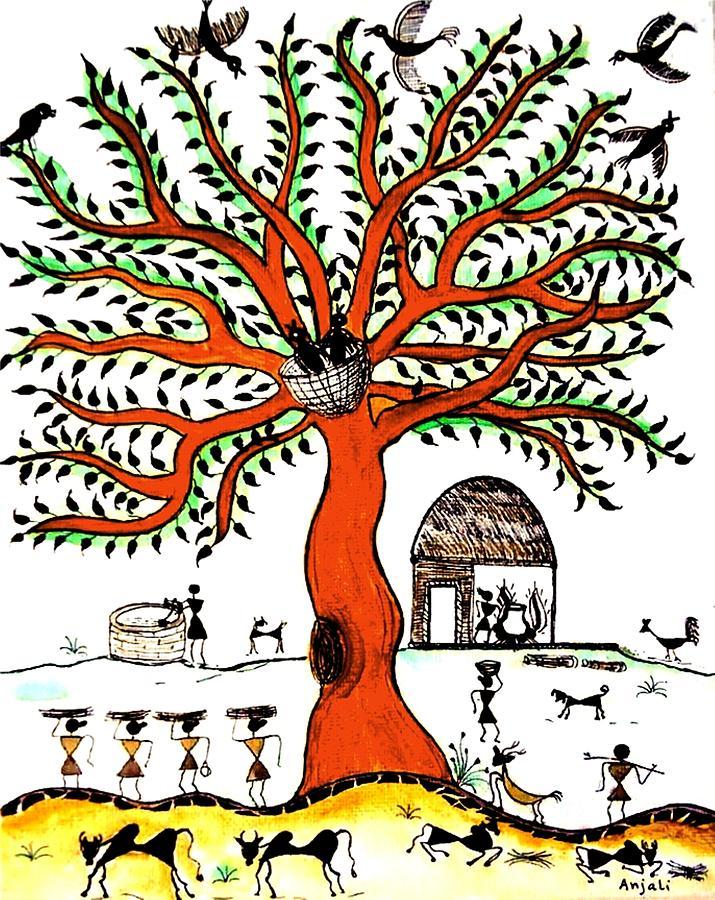 Tree Painting Painting - Good Morning Chirp by Anjali Vaidya