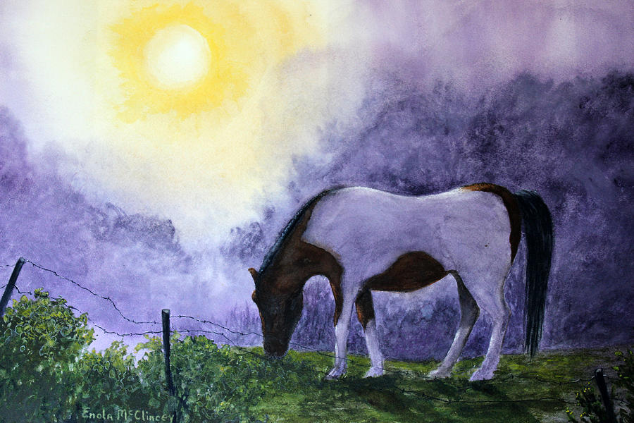 Pinto Horse Painting - Good Morning Patches by Enola McClincey