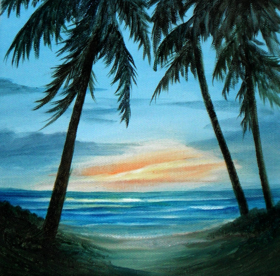 Seascape Painting - Good Morning Sunshine - Seascape Sunrise And Palm Trees By Rosie Brown by Rosie Brown
