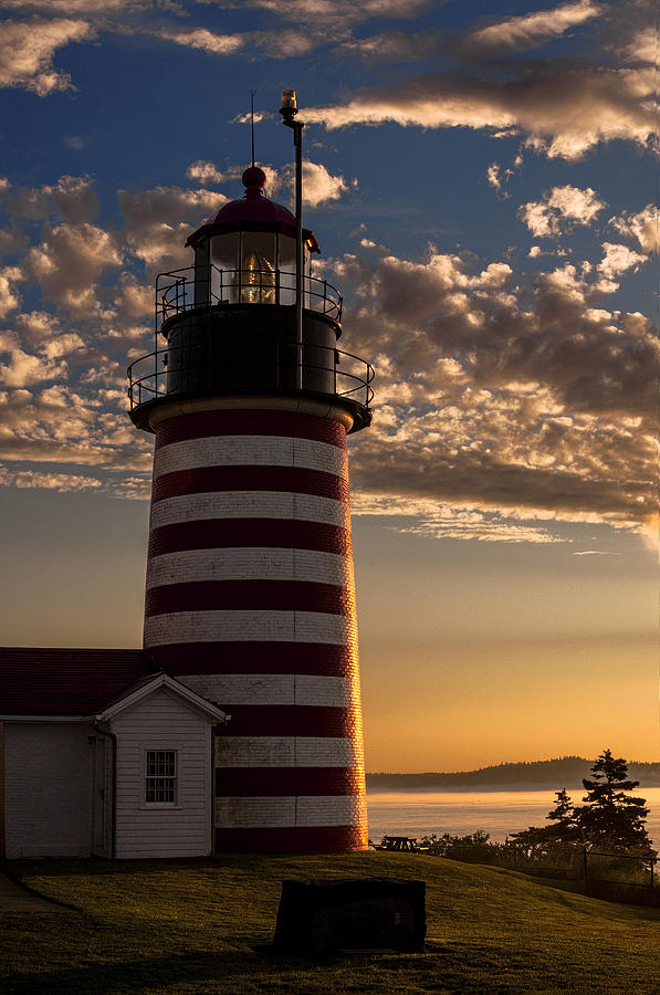 West Quoddy Head Lighthouse Photograph - Good Morning West Quoddy Head Lighthouse by Marty Saccone