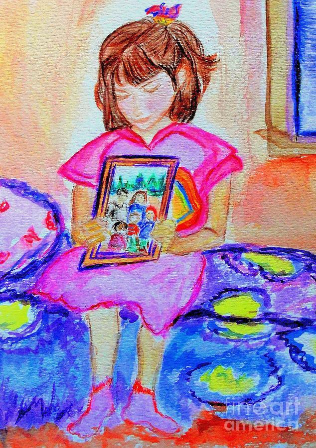 Little Girl Painting - Good Night Family-love Olivia by Helena Bebirian