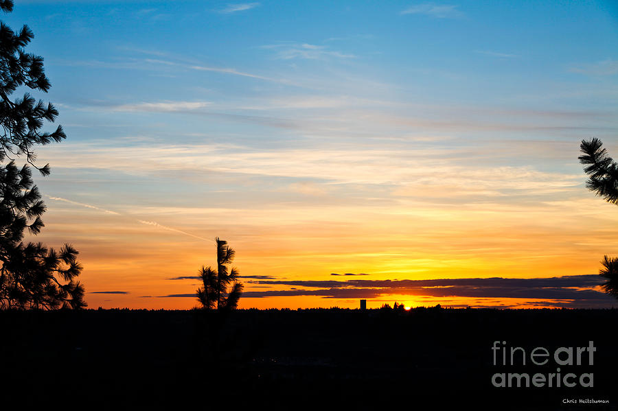 Nature Photograph - Good Night Spokane by Chris Heitstuman