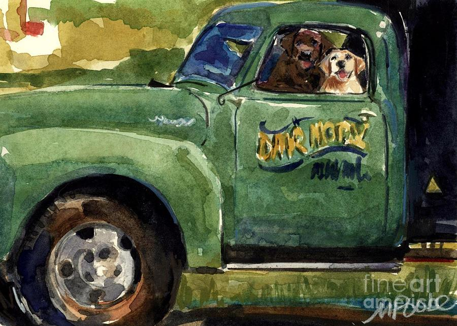 Dog In Truck Painting - Good Ole Boys by Molly Poole