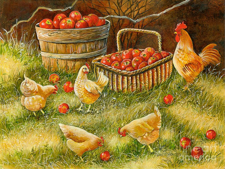 Rooster Painting - Good Pickings by Val Stokes