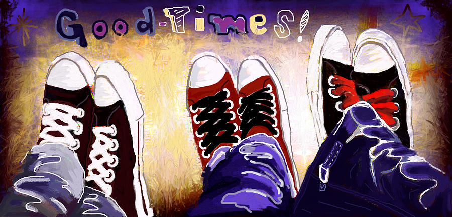 Shoes Digital Art - Good Times by Lourdes Madronal