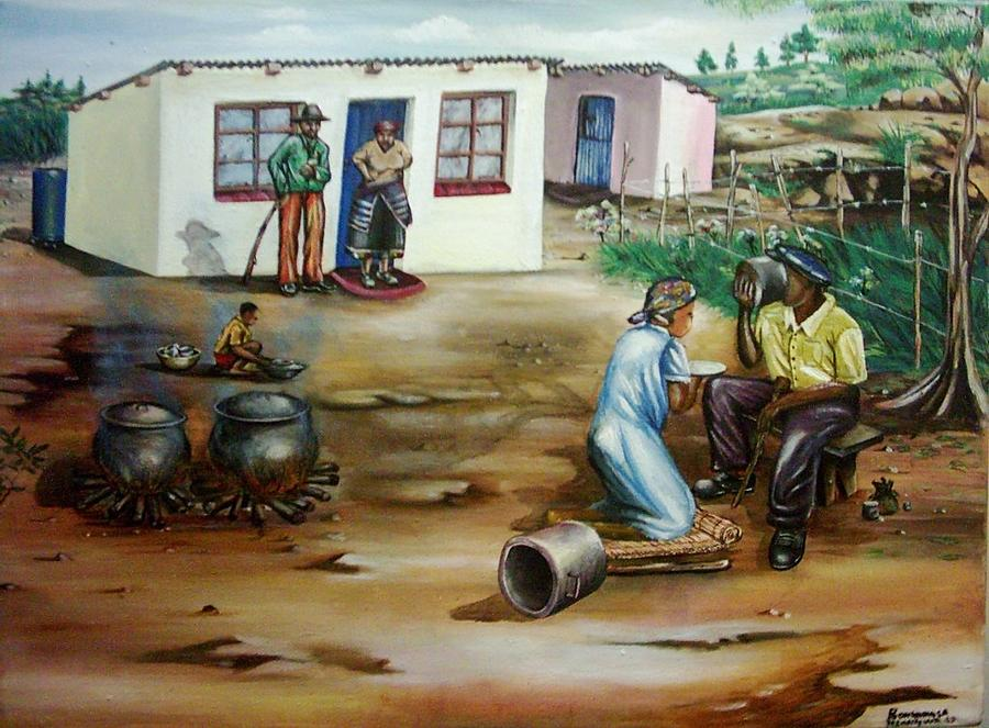 Thank You Painting - Good To Be At Home by Bongumusa  Hlongwa